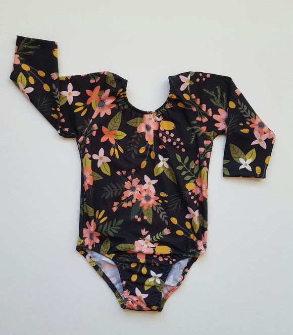 Black floral leotard