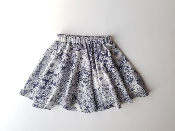 Blue Floral Twirl Skirt