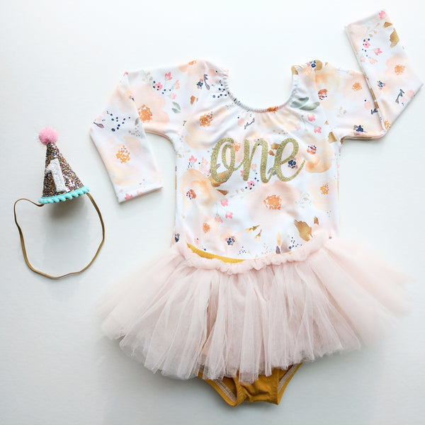 Light pink and gold birthday leotard