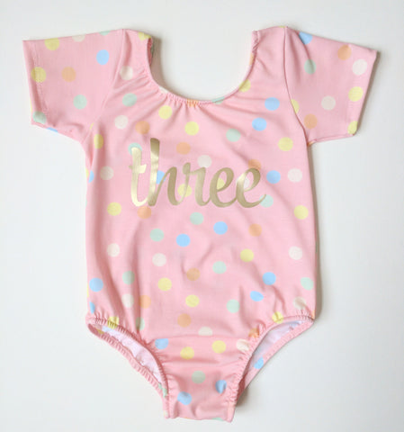 Pink confetti birthday leotard