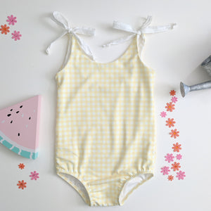 Yellow Gingham Tie Leotard