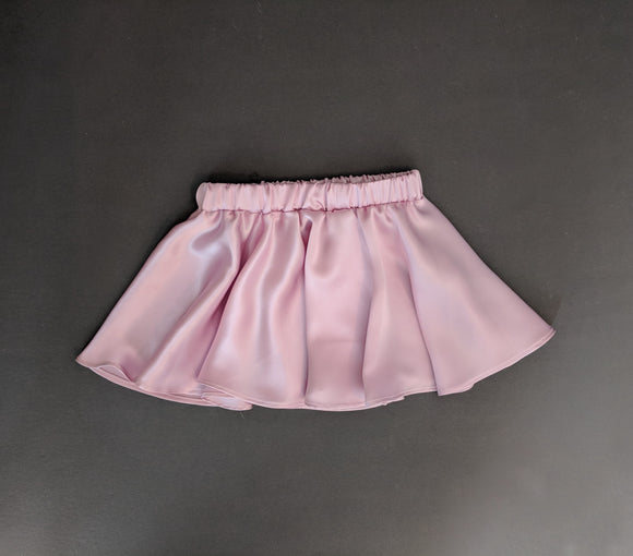 Blush Satin Silk Twirl Skirt