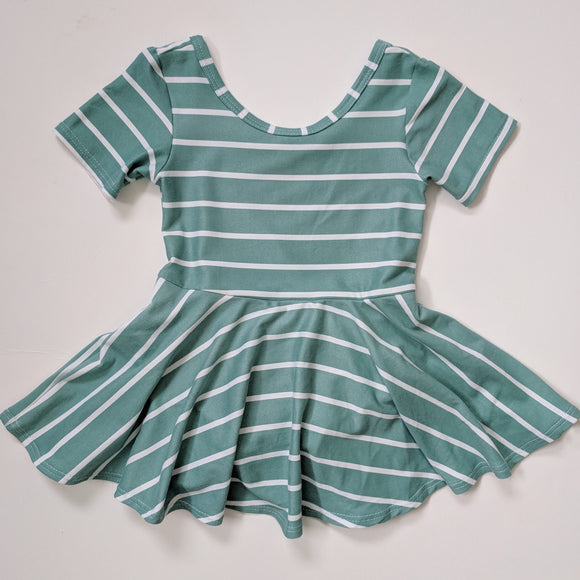 Sea Foam Stripe Leotard Dress