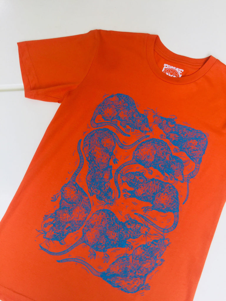 SEWER CITY Tee RUST/NEON BLUE