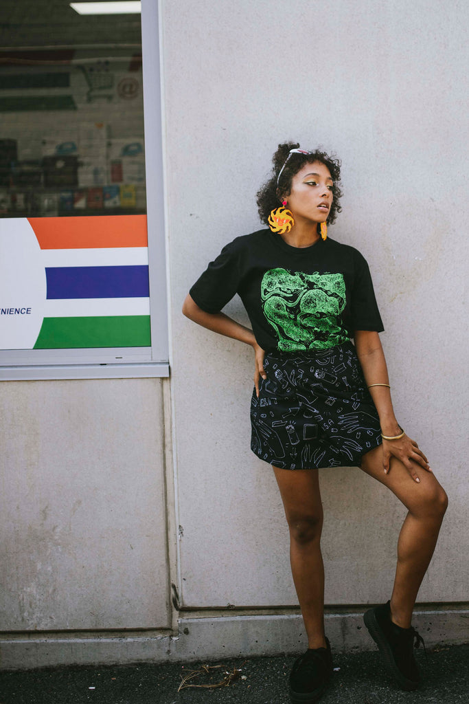 SEWER CITY Tee BLACK/NEON GREEN