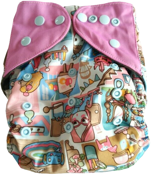 Easy Feel Printed PUL Double Gusset Bamboo Charcoal All In One (AIO) Cloth Diaper