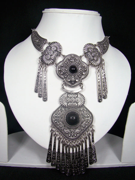 Oxidised Silver Metal Gypsy Style Statement Necklace for Girls & Women