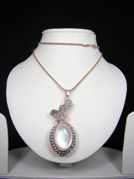 Fashionable & Designer Big White Stone Pendant with Long Chain for Girls & Women