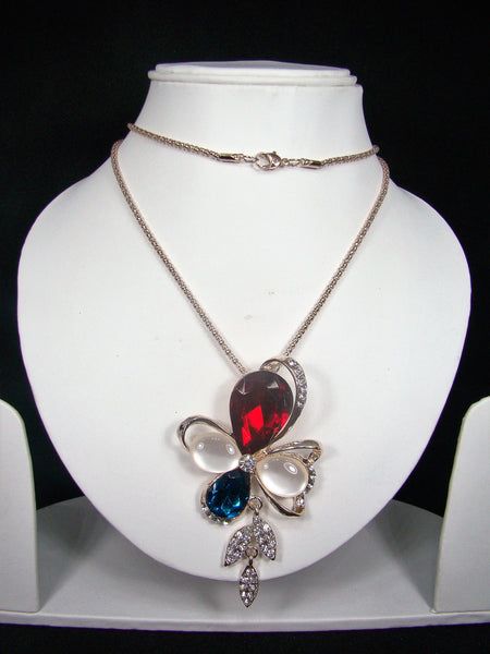 Fashionable & Designer Flower Shape Rhinestone Pendant with Long Chain for Girls & Women