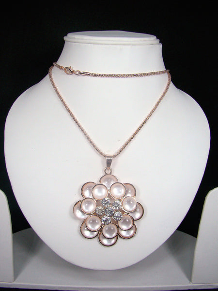 Fashionable & Designer Flower Shape Pendant with Long Chain for Girls & Women