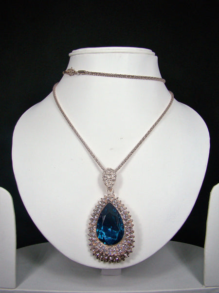 Fashionable & Designer Cyan Rhinestone Pendant with Long Chain for Girls & Women