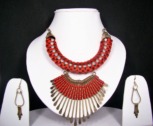 Red Thread and Non-Precious Metal Designer Tibetan Necklace with Tribal Accents for Women & Girls