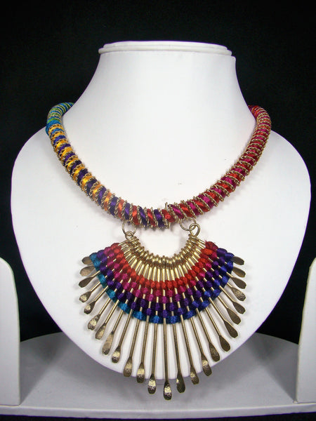 Multicolor Thread and Non-Precious Metal Designer Tibetan Necklace with Tribal Accents for Women & Girls