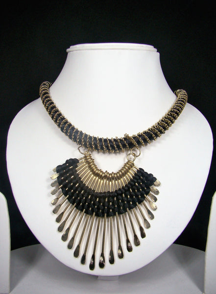 Black Thread and Non-Precious Metal Designer Tibetan Necklace with Tribal Accents for Women & Girls