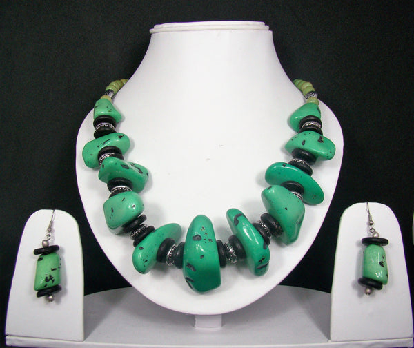 Tribal style Handmade Fashion Necklace Earring set adorned with Green stones for Women & Girls