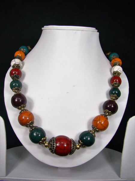Tribal style Handmade Fashion Necklace adorned with multicolour stones for Women & Girls
