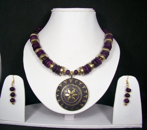 Tribal Style Handmade Fashion Necklace Earring set adorned with Purple Stones for Women & Girls