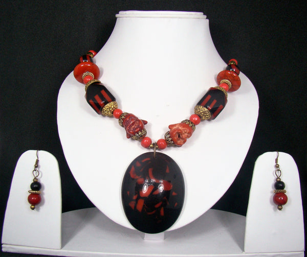 Tribal style Handmade Fashion Necklace Earring set adorned with Red Stones for Women & Girls