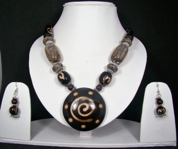 Tribal style Handmade Fashion Necklace Earring set adorned with Beige stones for Women & Girls