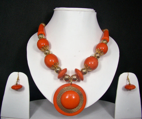 Tribal style Handmade Fashion Necklace Earring set adorned with Orange Stones for Women & Girls