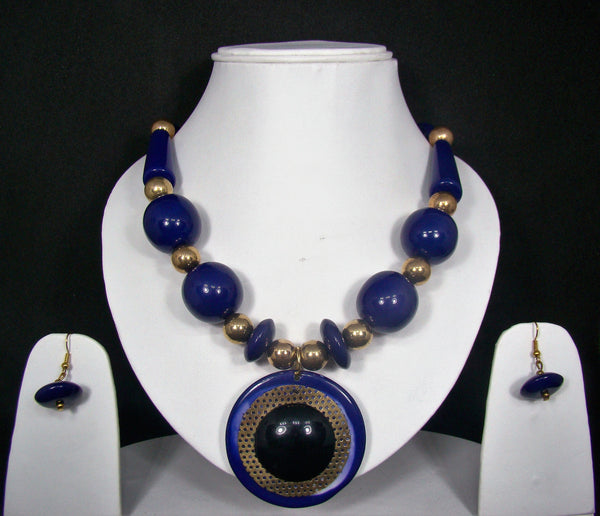 Tribal style Handmade Fashion Necklace Earring set adorned with Blue Stones for Women & Girls