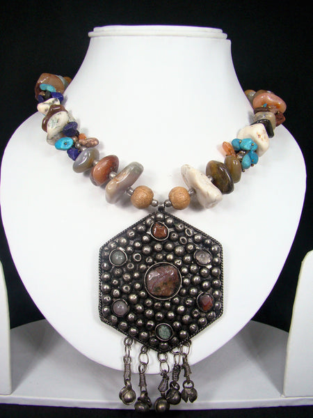 Tibetan Style Multicolor Crystal Stone Beads Handmade Fashion Necklace adorned with Big Metallic Pendant for Women & Girls