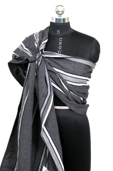 Easy Feel 100% Cotton Single Layered Ring Sling (Coal Stripes)