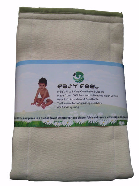 Easy Feel 100% Unbleached Cotton Prefold Cloth Diapers - Premium Size