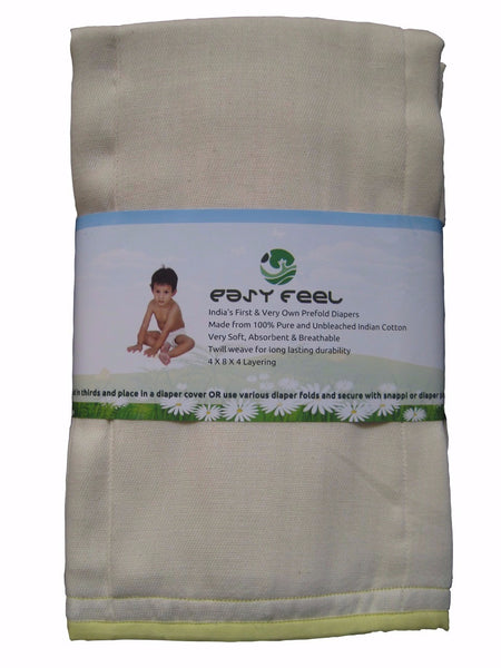 Easy Feel 100% Unbleached Cotton Prefold Cloth Diapers - Toddler Size