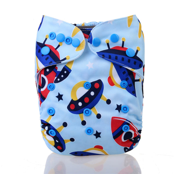 Easy Feel Printed PUL Single Gusset Suede Pocket Cloth Diaper (Without Insert)