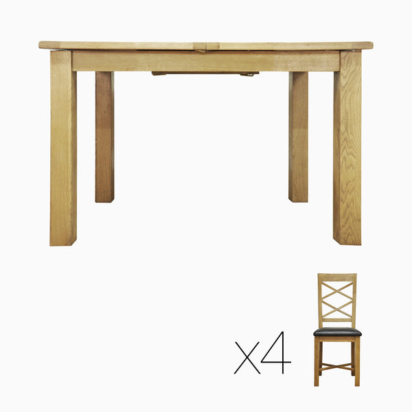 DINING SET DEAL - Norfolk 1.15m Extending Dining Table PLUS Cross Back Dining Chairs
