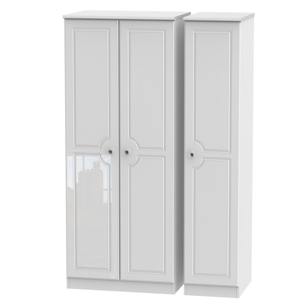 Crystal White Gloss Wardrobe - Standard Triple, Plain Robe
