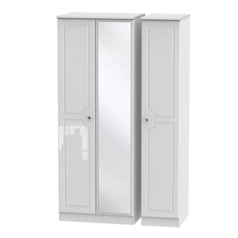 Crystal White Gloss Wardrobe - Tall Triple, Mirrored Robe