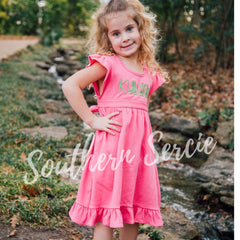 Girl's Flutter Sleeve Ruffle Dress