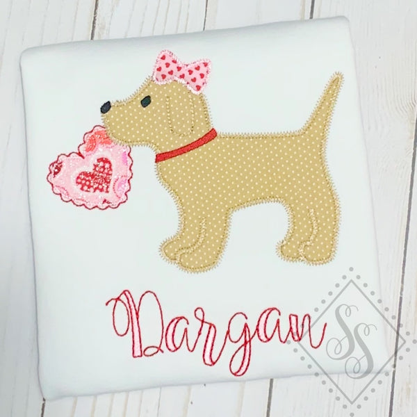 Puppy Heart w/ Bow Applique