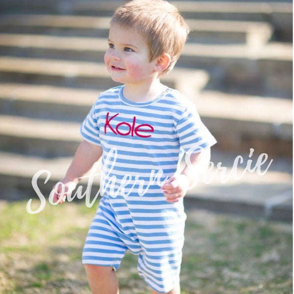 Boys Short Sleeve Striped Romper