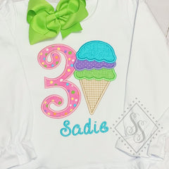 Ice Cream Triple Scoop Birthday Shirt
