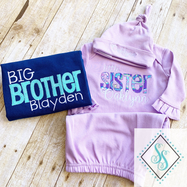 Little Sister Applique Gown and Sibling Shirt Set