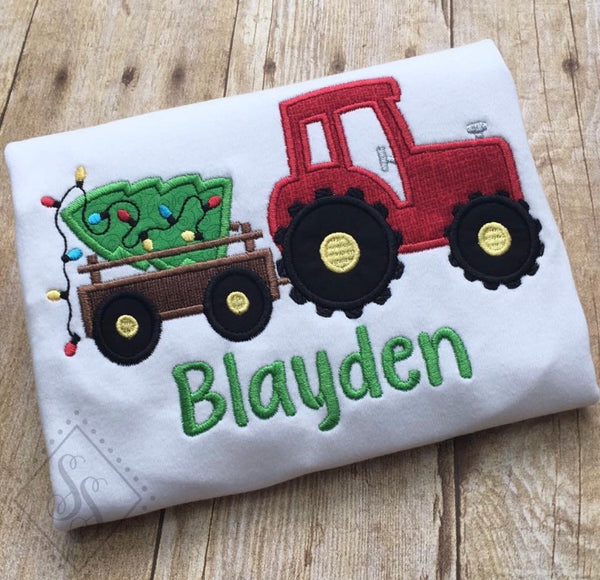 Christmas Tractor Applique Shirt - Long Sleeve