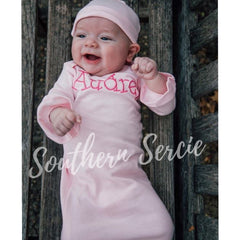 Infant Gown with Ruffle Sleeves