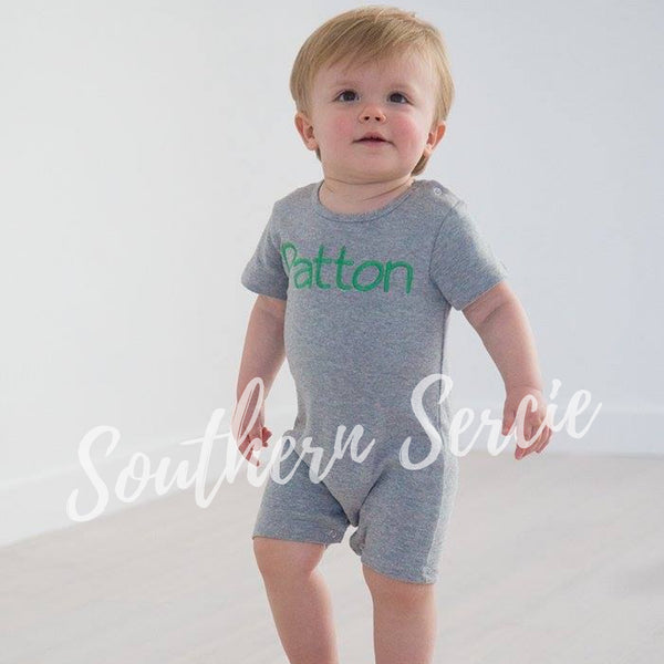 Boys Short Sleeve Solid Romper