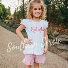 Girl's Seersucker Ruffle Shorties