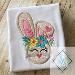 Floral Bunny Applique