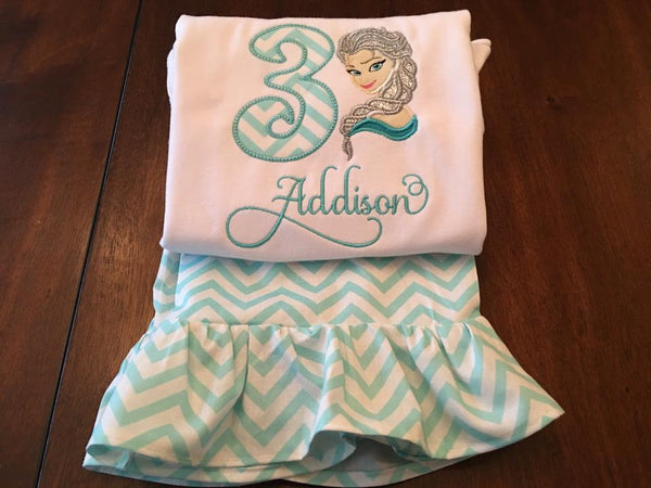 Princess and Chevron Birthday Shirt