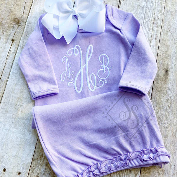 Girl's Monogramed Gown Set