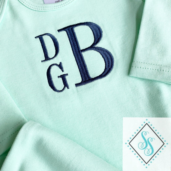 Boy's Solid Monogrammed Gown Set