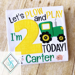 Let's Plow and Play Birthday Shirt