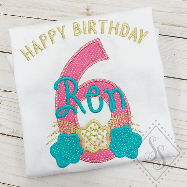 Floral Polka Dot Theme Birthday Shirt