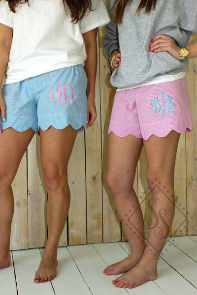 Ladies Scallop Seersucker Shorts