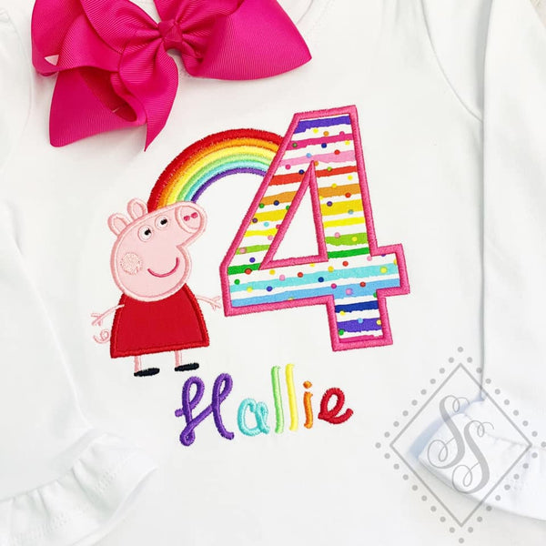 Pig Rainbow Birthday Shirt